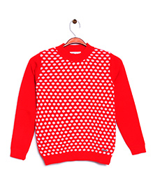 RVK Dot Design Full Sleeves Pull Over - Red
