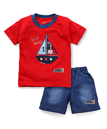 Babyhug Half Sleeves T-Shirt & Shorts With Ship Patch - Red Blue