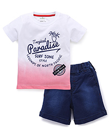 Babyhug Half Sleeves T-Shirt And Shorts Paradise Print - White Blue