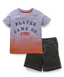 Babyhug Half Sleeves T-Shirt And Shorts - Grey And Olive Green