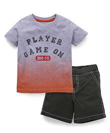 Babyhug Half Sleeves T-Shirt And Shorts - Grey And Olive Green