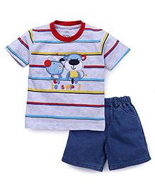 Babyhug Half Sleeves Striped T-Shirt And Denim Shorts Set - Grey Blue