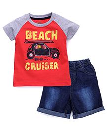 Babyhug Raglan Sleeves Printed T-Shirt And Shorts - Red Blue Grey