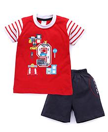 Babyhug Half Sleeves T-Shirt And Shorts Printed - Red Dark Grey