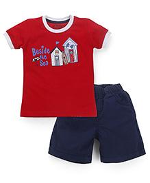 Babyhug Half Sleeves T-Shirt & Shorts Beside The Sea Print - Red Navy