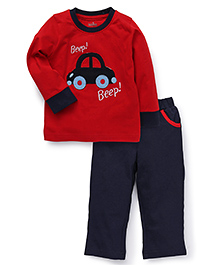 Babyhug Full Sleeves T-Shirt And Leggings - Red Navy