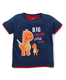 Babyhug Half Sleeves T-shirt Dinosaur Embroidery - Navy Blue
