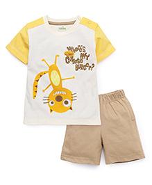Babyhug Half Sleeves T-Shirt And Shorts Cheese Burger Print - Beige White Yellow