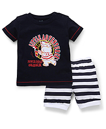 Babyhug Half Sleeves T-Shirt And Stripe Shorts Little Adventurer Print - Navy White