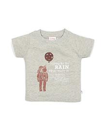 Solittle Half Sleeves T-Shirt Astronaut Print - Grey
