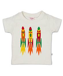 Solittle Half Sleeves T-Shirt Three Rockets Print - White