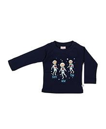 Solittle Full Sleeves T-Shirt Three Astronauts Print - Navy Blue
