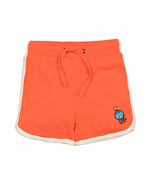 Solittle Drawstring Beach Shorts Embroidery Detail - Orange