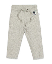 Solittle Full Length Drawstring Pant Embroidered Design - Grey