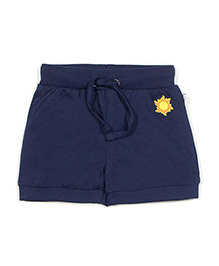 Solittle Drawstring Shorts Sun Embroidery - Navy Blue