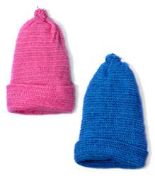 Soft Tots Set Of 2 Vibrant Caps - Pink & Blue
