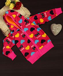 Bownbee Stylish Heart Printed Hoodie - Pink