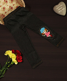 Bownbee Jegging With Cute Face Applique - Black