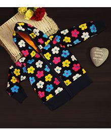 BownBee Stylish Floral Print Hoodie - Black