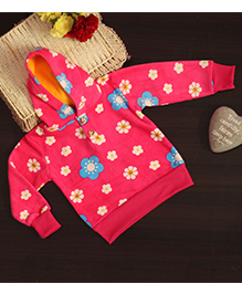 BownBee Stylish Floral Print Hoodie - Pink