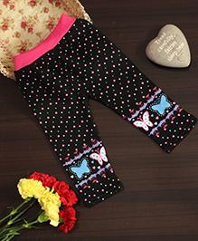 BownBee Butterfly Print Leggings - Black & Pink