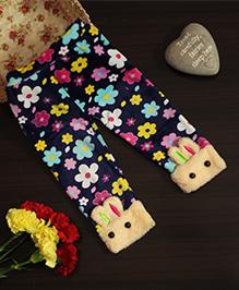 BownBee Floral Print Leggings With Bunny Hem - Blue