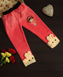 BownBee Leggings With Bunny Patterned Hem - Pink