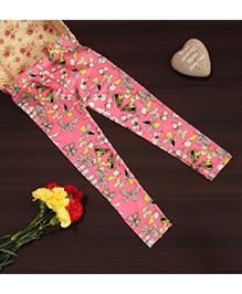 Bownbee Butterfly Printed Full Leggings - Pink