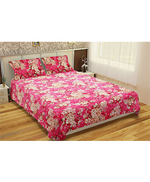Home Union Rose Print Double Bedsheet With 2 Pillow Covers - Pink