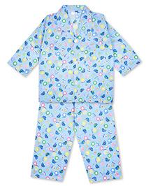 KID1 Collar Neck Night Shirt & Pajama Set - Blue