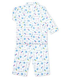 KID1 Mom's Pet Print Shirt & Pajama Set - White & Blue