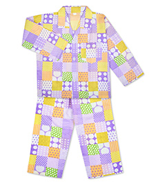 KID1 Polka Dots & Checks Print Shirt & Pajama Set - Yellow & Purple