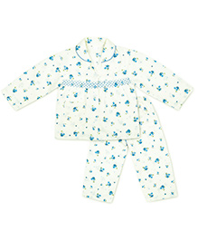 KID1 Floral Dreams Night Suit - Blue & Off White