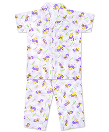 KID1 Buzzing Bees Night Suit - Purple