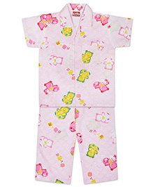 KID1 Teddy Toys Night Suit - Pink