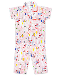 KID1 Row Your Boat Night Suit - Red & Multicolour
