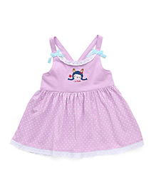 Simply Racerback Frock Polka Dot And Doll Print - Pink