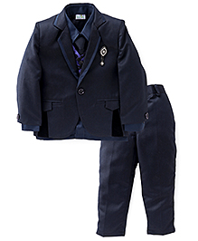 Babyhug 4 Piece Party Wear Suit With Tie - Blue