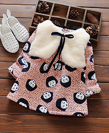 Aww Hunnie Winter Cute Printed Dress With Vest  - Pink