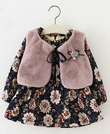 Aww Hunnie Floral Print Vest Dress - Pink & Blue
