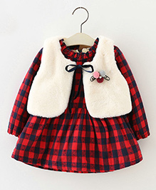 Aww Hunnie Check Print Dress With Vest - Red