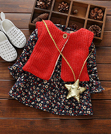 Aww Hunnie Cute Vest Dress - Red