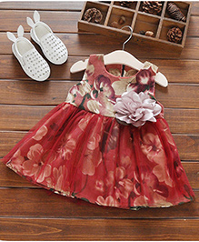 Aww Hunnie Dress With Floral Applique - Red