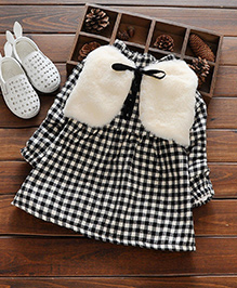 Aww Hunnie Cute Winter Dress With Vest - Black