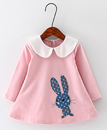 Aww Hunnie Rabbit Patch Work Dress - Pink