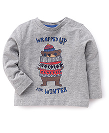 Mothercare Full Sleeves Wrapped For Winter Printed T-Shirt - Grey