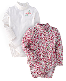 Mothercare Full Sleeves Onesies Floral Print Pack Of 2 - White Pink