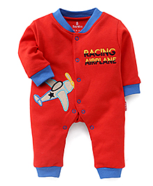 Child World Airplane Patch Full Sleeves Rompers - Red