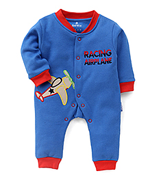Child World Airplane Patch Full Sleeves Rompers - Blue