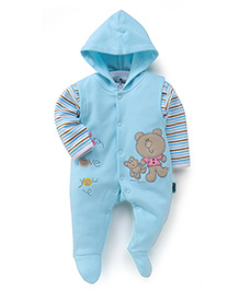 Child World Fleecy Hooded Romper With Teddy Patch - Blue